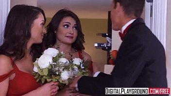 El novio y las damas de honor follan antes de la boda
